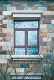 En vinterplats av fönstret på branchs för tegelstenvägg och träd Arkivfoton