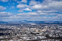 En vintersikt av den Roanoke dalen Arkivfoton