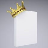 En vit bok och en guld- krona Royaltyfri Foto