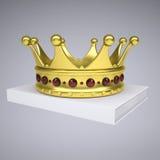En vit bok och en guld- krona Fotografering för Bildbyråer