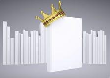 En vit bok och en guld- krona Royaltyfria Foton