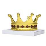 En vit bok och en guld- krona Arkivbilder