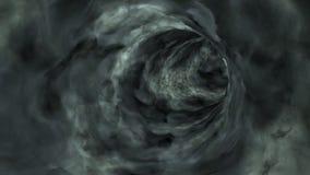 En volant par les nuages foncés percez un tunnel, faites une boucle, stockez la longueur illustration stock