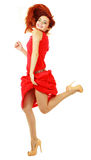 En vrouw die danst viert Royalty-vrije Stock Fotografie