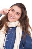 En vrouw die omhoog glimlacht kijkt Stock Foto