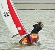 En västra Kirby Marine Lake Sailboat Race Royaltyfria Bilder