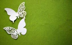 En vykort med fjärilar som isoleras på grön bakgrund Vit fjäril för hantverk royaltyfri bild