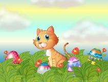 En wild katt och de easter äggen stock illustrationer
