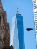En World Trade Center som bygger i New York City Royaltyfri Fotografi