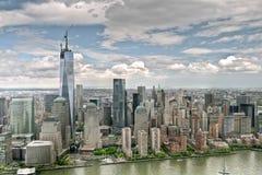 En World Trade Center under konstruktion Arkivfoton