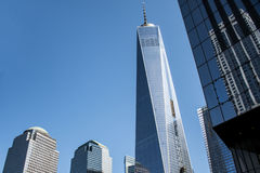 En World Trade CenterkonstruktionsNew York City USA horisont stora Apple 2 Arkivfoto