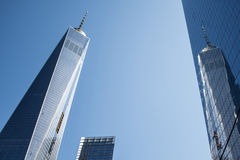 En World Trade CenterkonstruktionsNew York City USA horisont stora Apple 3 Royaltyfri Bild
