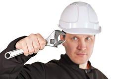 Ha på sig för Handyman som är enhetligt, och hardhat royaltyfria foton
