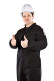 Ha på sig för Handyman som är enhetligt, och hardhat royaltyfria bilder