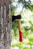 En yxa klibbas i ett träd i skogen Fotografering för Bildbyråer