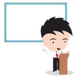 En zakenmanspreker die en whiteboard, vectorillustratie op witte achtergrond zich erachter bevinden spreken Stock Foto's