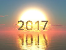 2017 en zonsopgang Stock Foto
