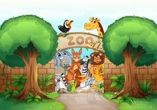 En zoo och djur stock illustrationer