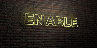 ENABLE -Realistic Neon Sign on Brick Wall background - 3D rendered royalty free stock image. Can be used for online banner ads and direct mailers Stock Image