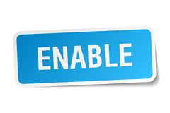 Enable sticker. Enable square sticker isolated on white background Royalty Free Stock Images