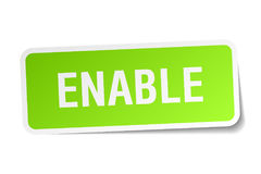 Enable sticker. Enable square sticker isolated on white background Stock Image