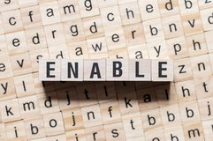 Enable word concept. On cubes royalty free stock photos