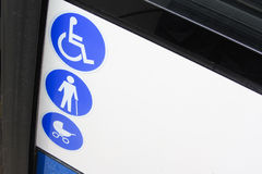 Enabled bus for transport of disabled and aged people Royalty Free Stock Photography