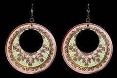 Enamel Circle Earrings Royalty Free Stock Photos