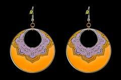 Enamel Circle Earrings Stock Image