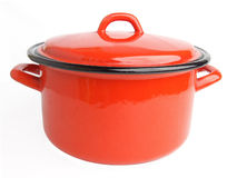 Enamel cooking pot. Red enamel cooking pot isolated on white background Royalty Free Stock Image