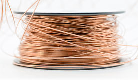 Enamel Copper Wire. Closeup shot of a roll of enamel copper wire Stock Photos