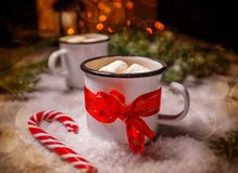 Enamel cup of hot cocoa Stock Images