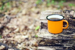 Enamel cup of tea. Cup with hot tea stands on a log Stock Photography