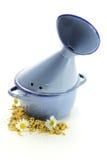 Enamel inhalator. With chamomile isolated on white background stock photos