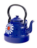 Enamel kettle. Blue enamel kettle isolated on white royalty free stock images