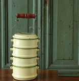 Enamel lunch container. royalty free stock image