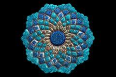 Enamel plate. Iranian enamel plate on black Stock Images