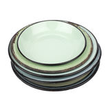 Enamel Plates and Bowl Cutout Royalty Free Stock Photos