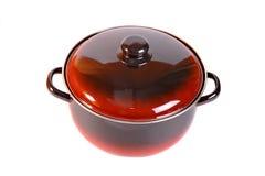 Enamel saucepan. Enamel cooking pot on white Stock Images