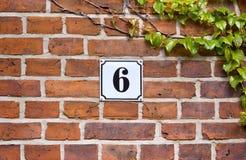 Enamel sign number 6 Royalty Free Stock Image