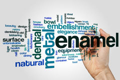Enamel word cloud. Concept on grey background stock photos