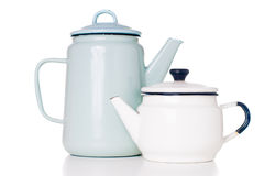 Enameled coffee pots Stock Images