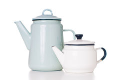 Enameled coffee pots Royalty Free Stock Image