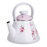 Enameled kettle for boiling water. On a white background Stock Images
