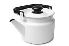 Enameled kettle. On white background Royalty Free Stock Photos