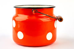 Enameled kitchen cookware isolated. Royalty Free Stock Images