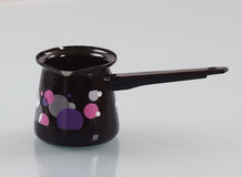 Enameled pot with handle. For making Turkish coffee Stock Photography