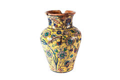 Enamelled Clay Vase. Enamelled Clay old Middle Eastern jug on the white background Stock Image