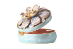 Enamelled Ornamental Pill Box. Ornamental ladies pill box, round and finished in blue enamel, further decorated with a gilt eedged flower on the lid Royalty Free Stock Image