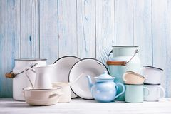 Enamelware still life Royalty Free Stock Photos
